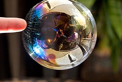 Expoding bubble with reflections