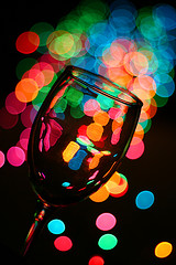 Wine glass with holiday lights