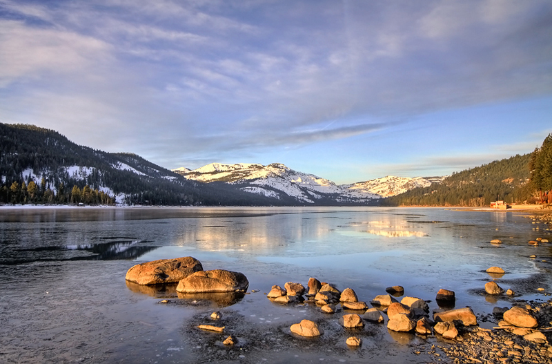Icy Donner Lake, California