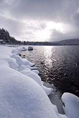Snow along the shore of Donner Lake